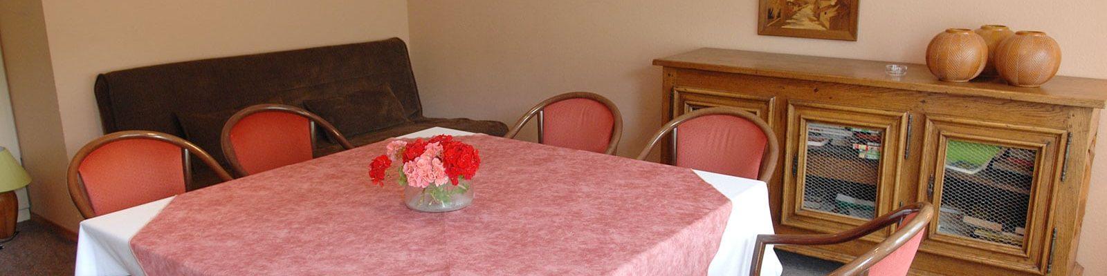 Salon et séjour appartement les Géraniums situé à l'hôtel - 4 rue de la Flieh à Kaysersberg