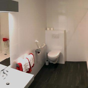 Vue globale de la salle de bains de l'appartement n°50 Béri aux Loges les Remparts à Kaysersberg - Adapté PMR